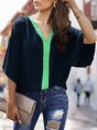 V Neck Batwing Color-Block Casual Blouse