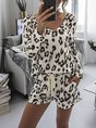 Long Sleeve Lace-Up Leopard Two-Piece Set