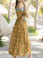 V Neck Yellow Shift Boho Printed Maxi Dress