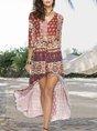 V Neck Shift Holiday Tribal Maxi Dress