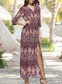 V Neck  Holiday Boho Printed Maxi Dress