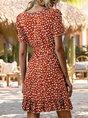 V Neck Dresses Holiday Floral Mini Dress