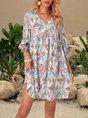 V Neck Mini Dresses A-Line Holiday Cotton-Blend Dresses