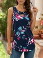 Shift Simple  Floral  Causal Top