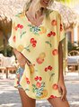 Yellow V Neck Printed Floral Holiday Top