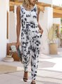 White Shift Tie-Dye Gradient Holiday One-Pieces Jumpsuit