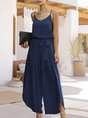Simple V Neck One-Pieces With Belt Jumpsuit