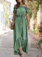 Horizontal Neck  A-Line Holiday Ruffled Maxi Dress
