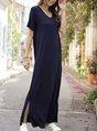 V Neck Purplish Blue Casual Maxi Dress