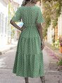 V Neck A-Line Printed  Polka Dots Maxi Dress