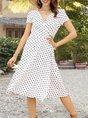 V Neck Polka Dots  Classics Midi Dress
