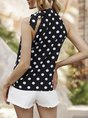 Black Halter Holiday Polka Dots Printed Top
