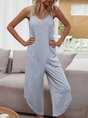 Gray Solid  Casual V Neck One-Pieces Jumpsuit