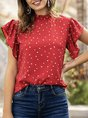 Stand Collar Short Sleeve Holiday Shift  Top