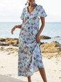 V Neck Blue Beach Animal Maxi Dress