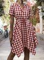 V Neck Holiday Drawstring Checkered/plaid Mini Dress