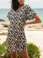 Blue  A-Line Beach Floral Mini Dress