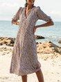 V Neck Burgundy Swing Boho Midi Dress
