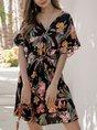 V Neck  Printed Floral Mini Dress