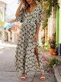 V Neck Green Boho Floral Maxi Dress