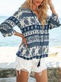 Purplish Blue Tribal Vintage V Neck Shift Top