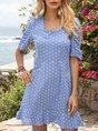 Blue Floral A-Line Date Mini Dress