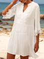 White A-Line Daily Solid Mini Dress