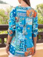 Women Abstract Printed V Neck Exotic Blouse