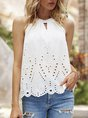 White Solid Halter Sleeveless Top