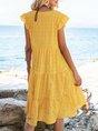 Yellow A-Line Beach Sleeveless Mini Dress