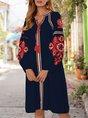 Vintage Tribal Shift Long Sleeve Dresses