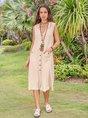 Women Vintage Sleeveless Cotton Buttoned Down Dresses