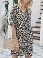 V Neck  Holiday Leopard Mini Dress