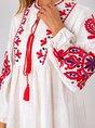 Sundress Embroidered Vintage Midi Dress