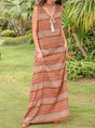 V Neck Daily Lace Up Floral Maxi Dress
