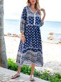 V Neck Blue Swing Holiday Tribal Maxi Dress