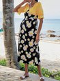 V Neck Yellow Black Beach Maxi Dress