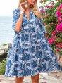 Sky Blue A-Line Holiday Cotton-Blend Mini Dress
