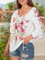 Women Floral Embroidery Long Sleeve Blouse