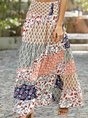 Orange Printed Holiday Tribal Maxi Skirt