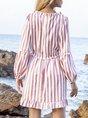 Orange Pink Paneled Deep V-Neck A-Line Striped Long Sleeve Mini Dress