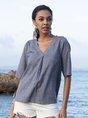 Blue Shift Short Sleeve Solid Shirts & Tops