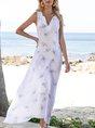 V Neck White Swing Beach Animal Maxi Dress