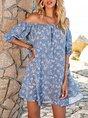 Blue Floral Cold Shoulder Dresses