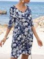 Brigth Blue Shift Beach Boho Mini Dress