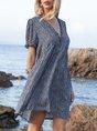Blue Swing Short Sleeve V Neck Floral Mini Dress