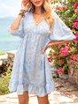 Blue Casual Printed Half Sleeve V Neck Mini Dress