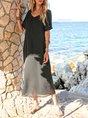 Coffee Crew Neck Short Sleeve Chiffon Floral Maxi Dress