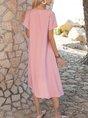 V Neck Orange Pink Casual Plain Midi Dress