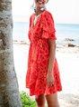 V Neck Orange Red  A-Line Beach Geometric Mini Dress